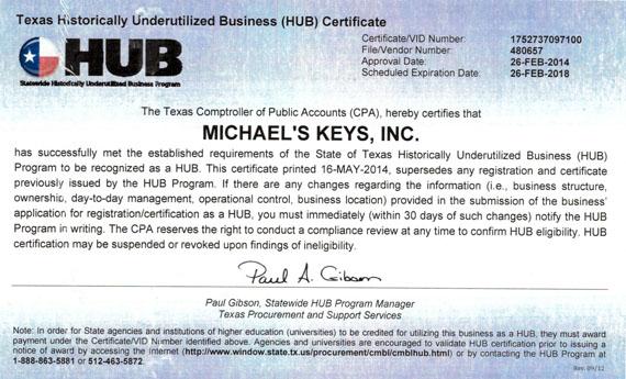 Texas Hub Certification
